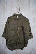 〜SALE〜 FABRIQ REPORT  ロールアップドルマンスリーブワークシャツ オリーブ(130センチ)