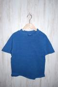 ~SALE~ prit 30/1マナプール中白染めミニワッフル半袖モックネックTシャツ(ブルー)