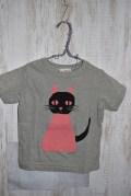 〜SALE〜 nini  パペットねこTシャツ グレー(80〜110、130センチ)