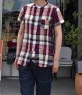 ~SALE~ 7th GATE  ビッグマドラスリネンスタンダードカラーショートスリーブシャツ(レッド)