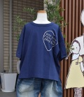 ~SALE~ NEEDLE WORKS  Big Drop Hear T-shirt  ネイビー(120、130センチ)