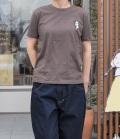 nini  フレンチブルドッグ刺繍Tシャツ ブラウン(Lady's、Mens)