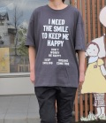 NEEDLE WORKS HAPPY Long-Big T-shirts ロングビッグTシャツ チャコール(Lady's)