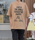 NEEDLE WORKS HAPPY Long-Big T-shirts ロングビッグTシャツ ブラウン(Lady's)