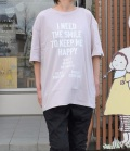 NEEDLE WORKS HAPPY Long-Big T-shirts ロングビッグTシャツ ピンク(Lady's)