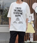 NEEDLE WORKS HAPPY Long-Big T-shirts ロングビッグTシャツ オフ(Lady's)