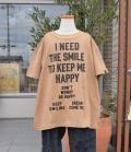 NEEDLE WORKS HAPPY Long-Big T-shirts ロングビッグTシャツ ブラウン(90~150センチ)