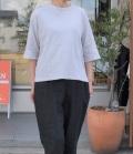 chloro sister  【定番】リコット天竺5分袖クルーネックビックTシャツ(ライトグレー)