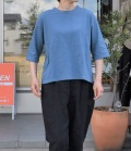chloro sister  【定番】リコット天竺5分袖クルーネックビックTシャツ(ブルー)
