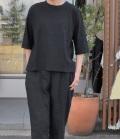 chloro sister  【定番】リコット天竺5分袖クルーネックビックTシャツ(ブラック)