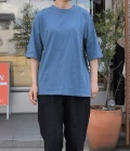chloro 【定番】リコット天竺5分袖クルーネックビックTシャツ(ブルー)