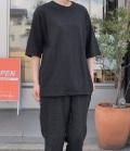 chloro 【定番】リコット天竺5分袖クルーネックビックTシャツ(ブラック)