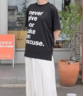 thomas magpie big T-shirt  ビッグTシャツ never give nor an excuse(ブラック)