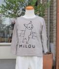 nini  フレンチブルドッグTシャツ グレーベージュ(80~140センチ)