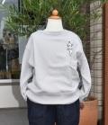 nini  フレンチブルドッグ刺繍トレーナー ライトグレー(80~140センチ)