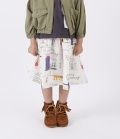 NEEDLE WORKS Child's drawing-Print Gather-Skirt  プリントギャザースカート ホワイト(90~150センチ)
