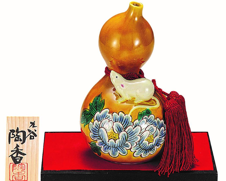 九谷焼縁起干支置物(6.5号 瓢箪子) 交趾 (飾台/立札付)  [ 陶香窯 ]