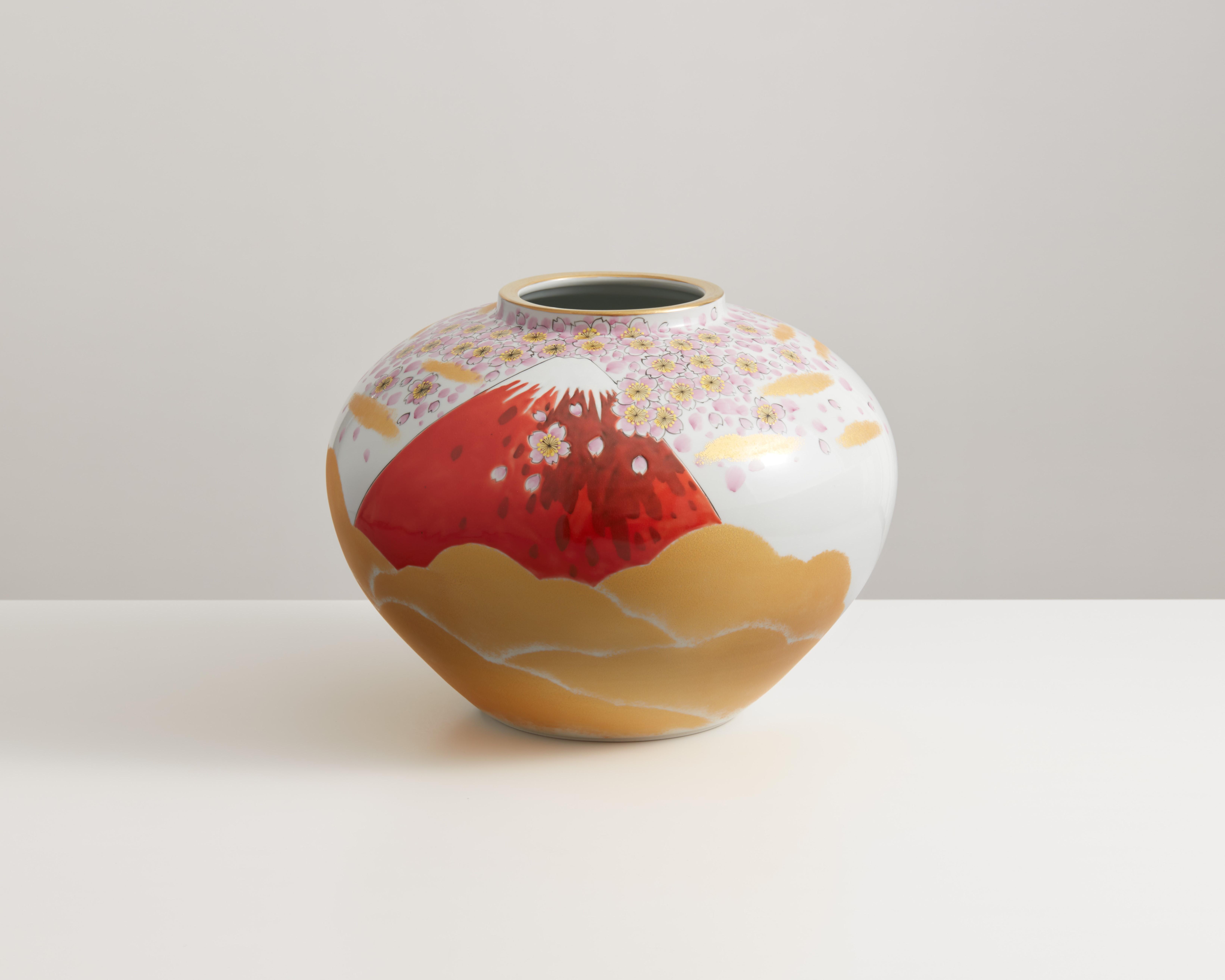 花瓶(10号) 金彩赤富士 [ 福田良則 ]
