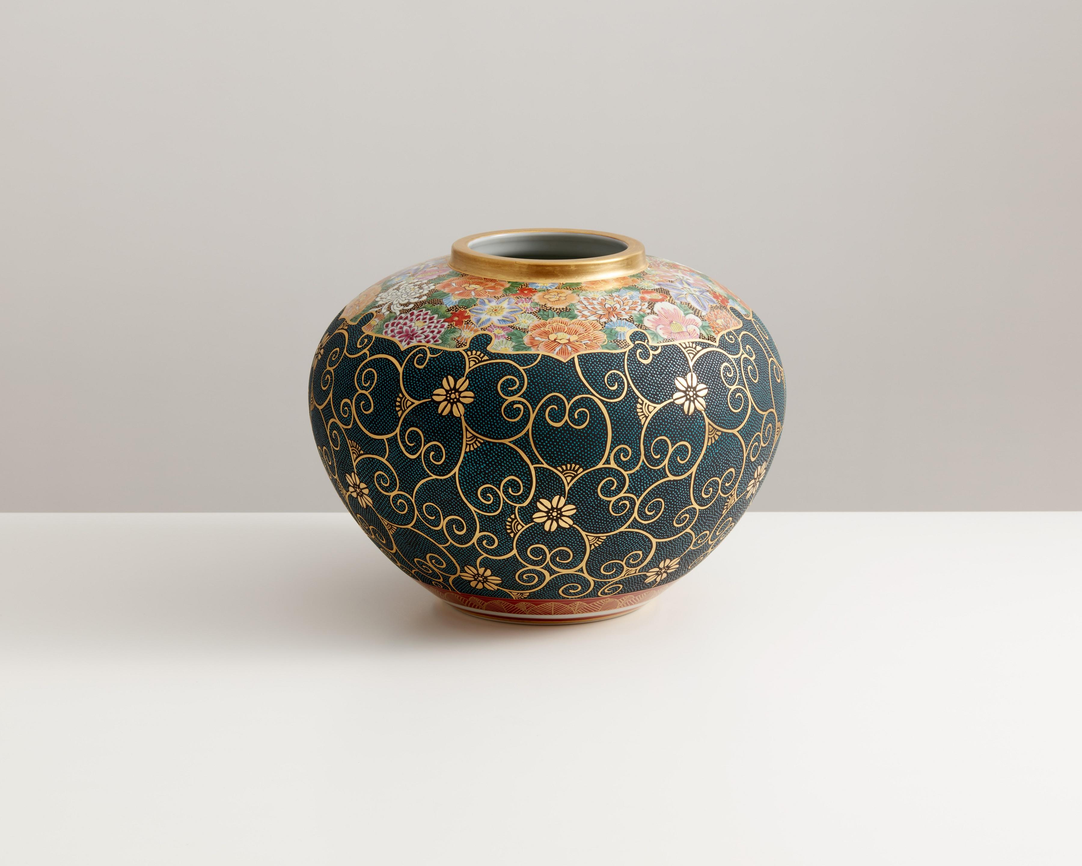 花瓶(10号) 本金青粒花詰 [ 小酒洸仙 ]