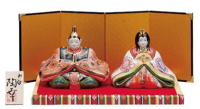 九谷焼 5号雛人形 細描盛 (台・屏風・敷物・立札付) [ 陶幸窯 ]