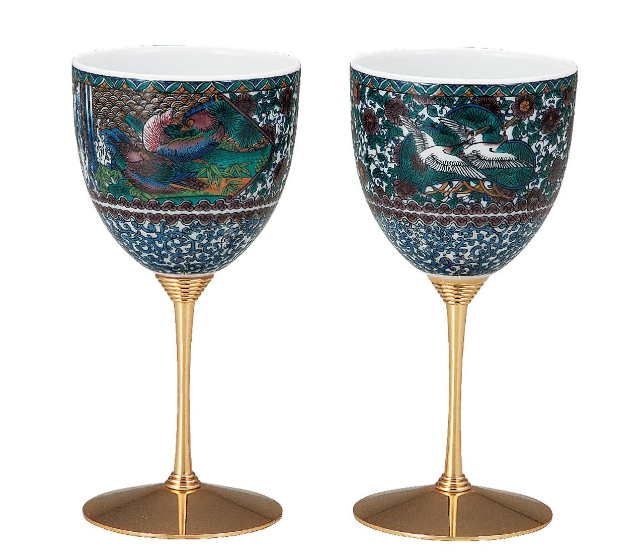 ペアワインカップ 間取花鳥