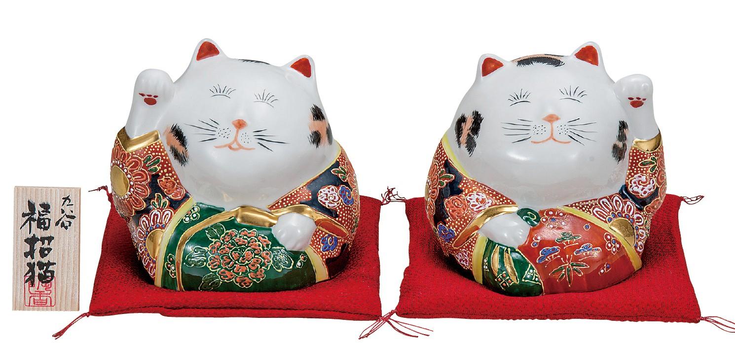 九谷焼 4号ペア招猫 盛  [ 座布団・立札付 ]