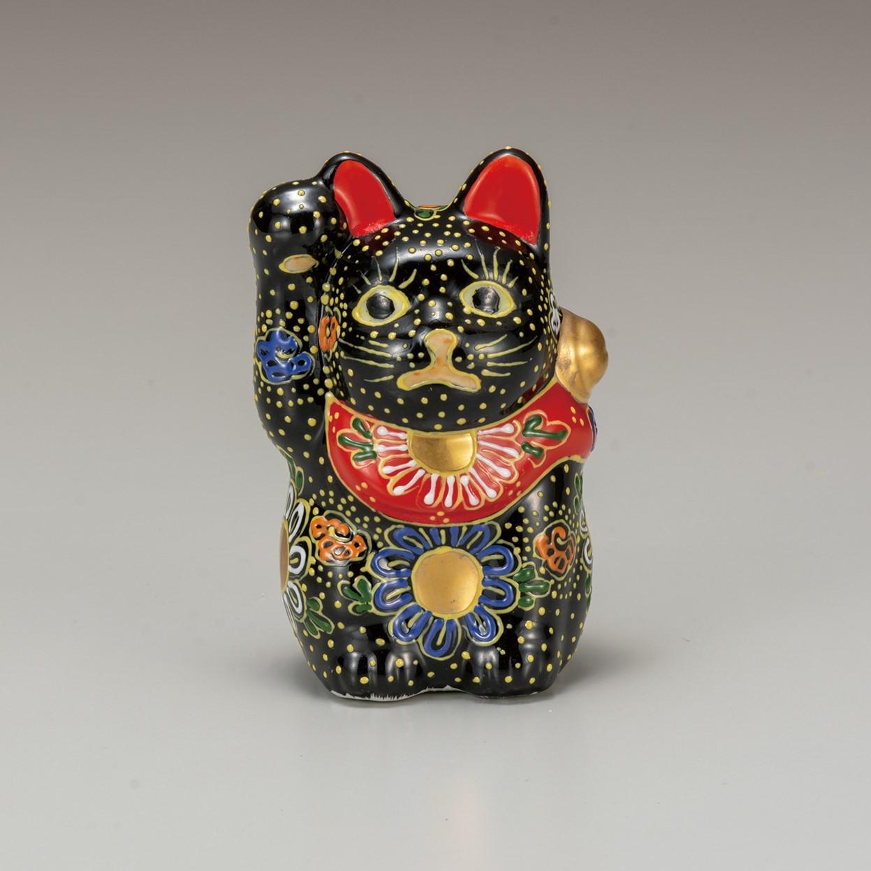 九谷焼 3.2号招猫 黒盛(右手上げ)7-1486