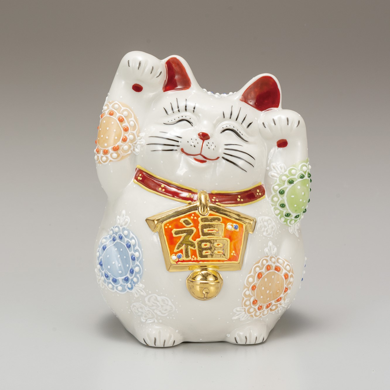 九谷焼 4.5号招猫 白盛(両手上げ)7-1513