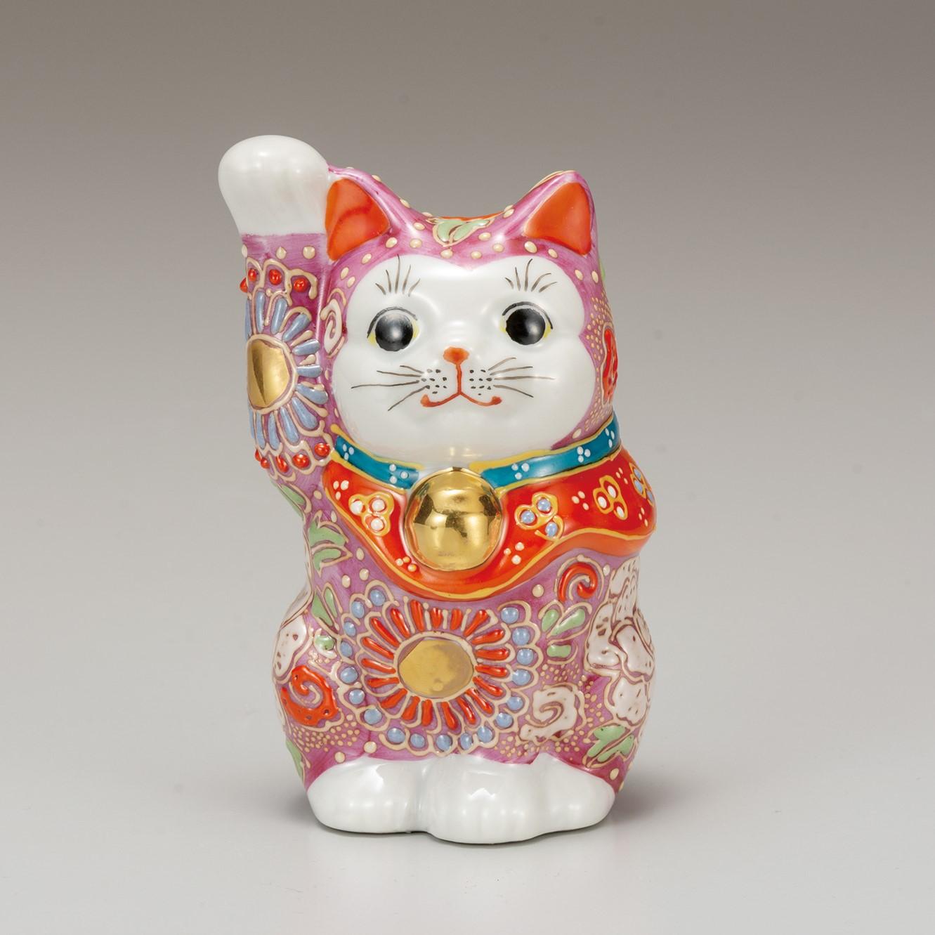 九谷焼 4号招猫 ピンク盛(右手上げ)7-1522