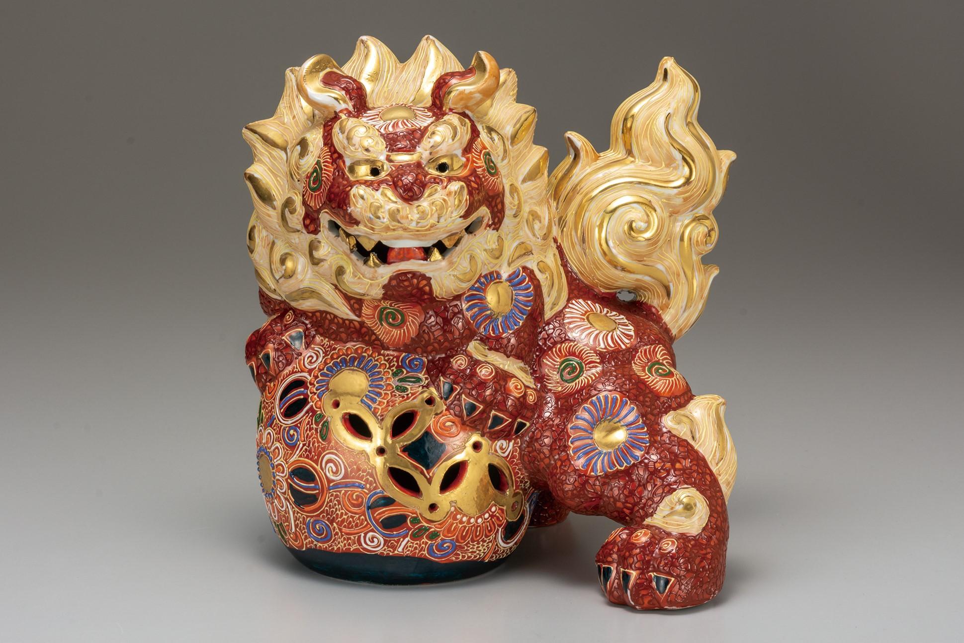 九谷焼 8号獅子 盛