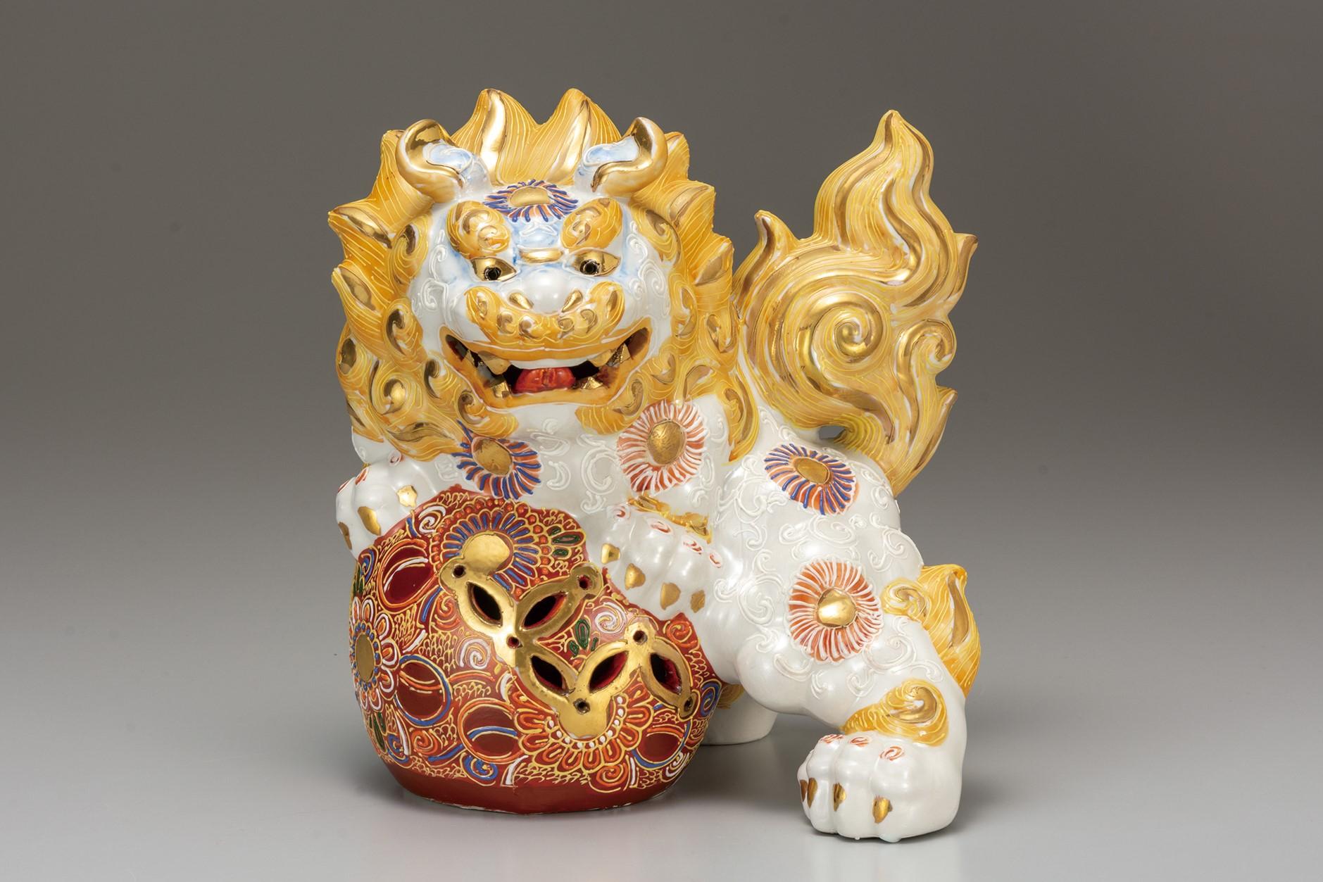 九谷焼 8号獅子 白盛