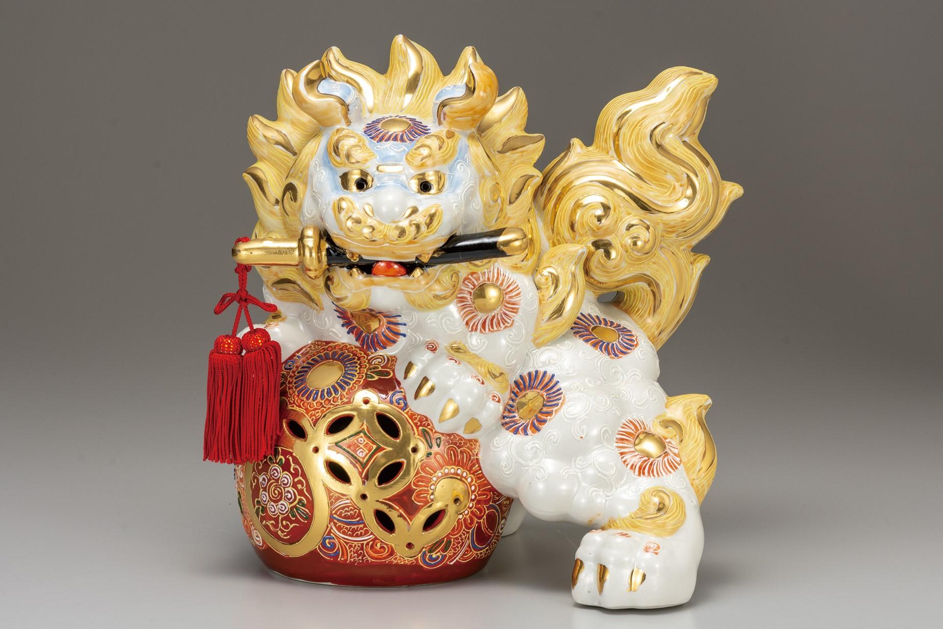 九谷焼 10号剣獅子 白盛