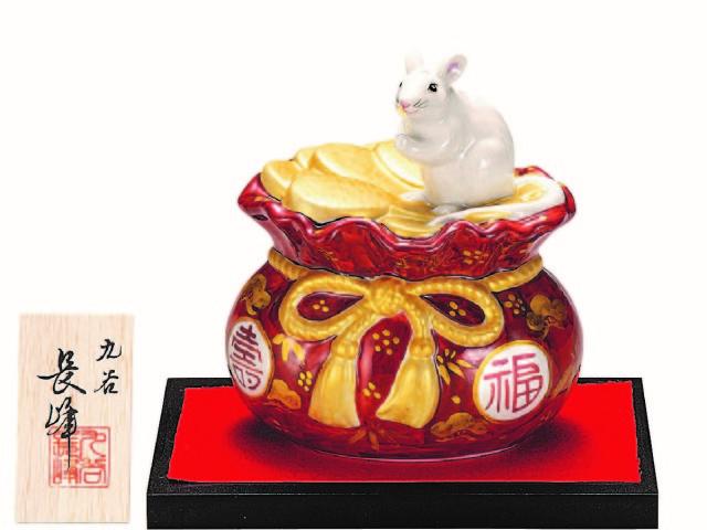 九谷焼縁起干支置物(5.5号 小判巾着子) 赤金 (飾台/立札付)  [ 長峰窯 ]