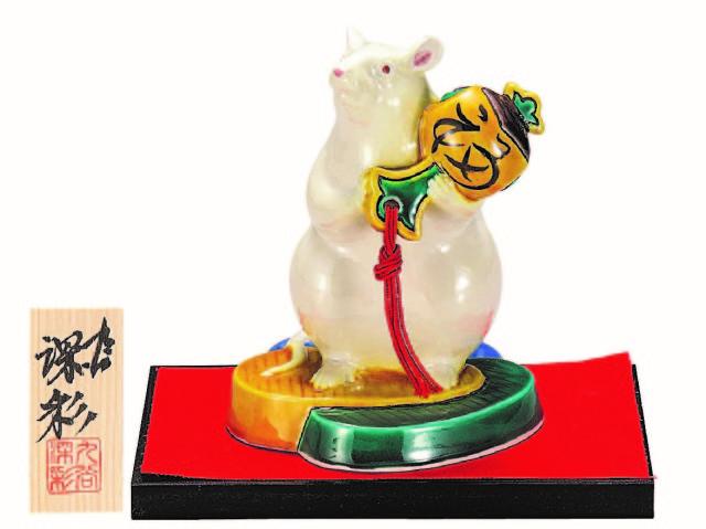 九谷焼縁起干支置物(5.5号小槌持子) 交趾 (飾台/立札付)  [ 深彩窯 ]