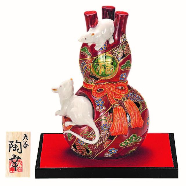 九谷焼縁起干支置物(7号 瓢箪子) 赤盛 (飾台/立札付)  [ 陶幸窯 ]