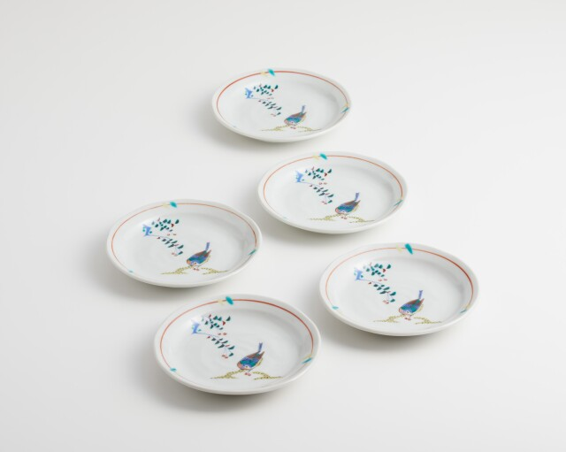 5枚皿揃(4.5号) 花鳥 [ 九谷極彩オリジナル ]