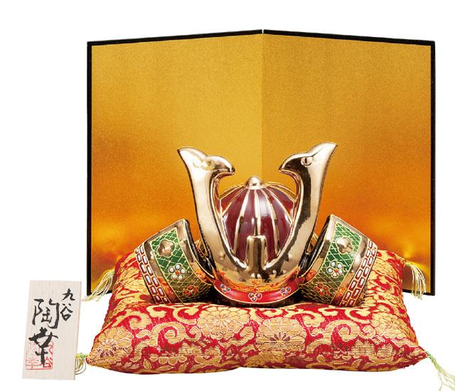 九谷焼五月人形 6号兜 盛  (布団・屏風・立札付)  [ 陶幸窯 ]