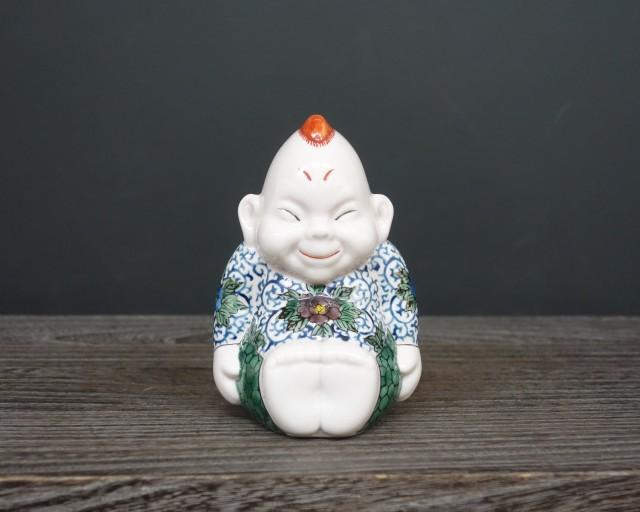 九谷焼  4号ビリケン 唐草紋