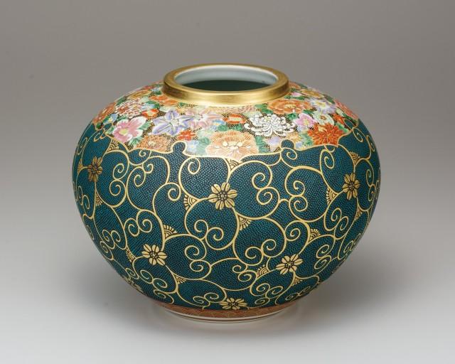 花瓶(10号) 本金青粒花詰 [ 小酒洸仙 ]6-1341