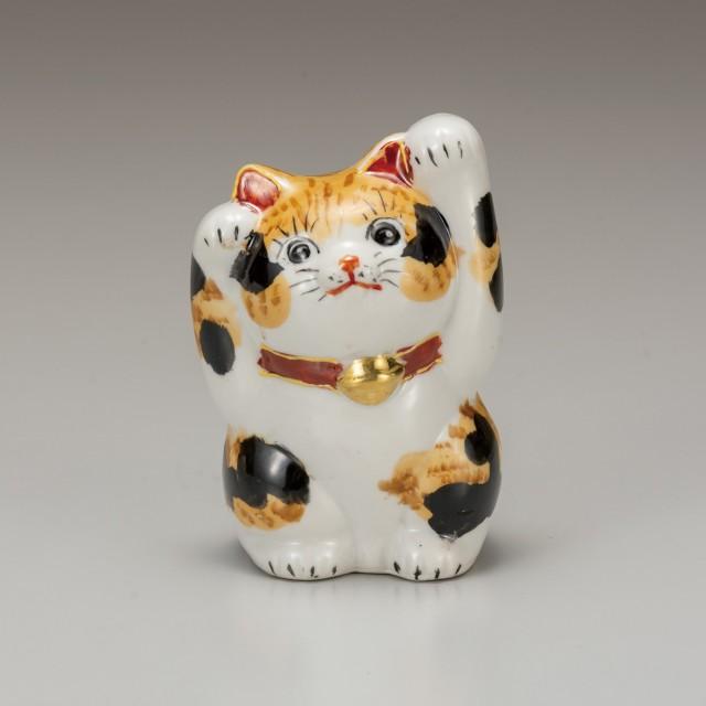 九谷焼 4号招猫 毛長三毛(両手上げ)