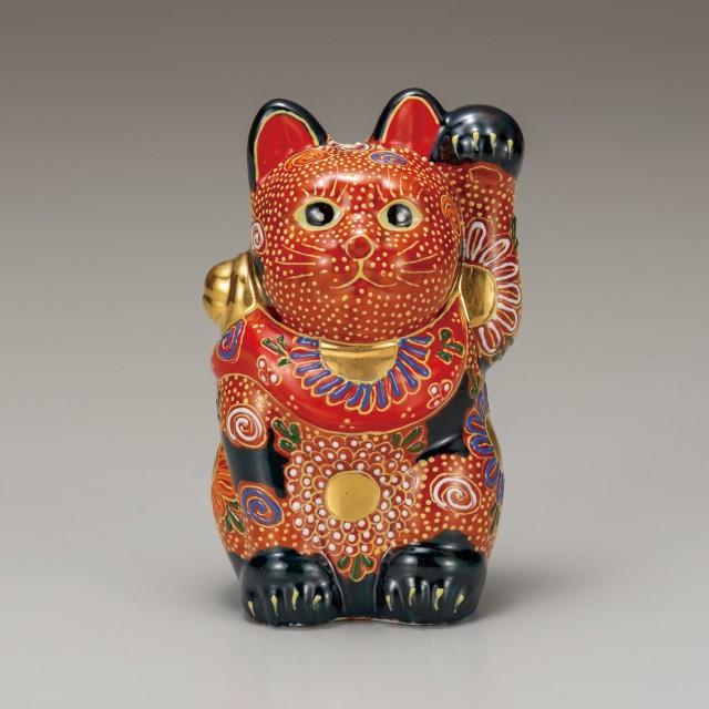 九谷焼 4号招猫 紺盛(左手上げ)7-1500