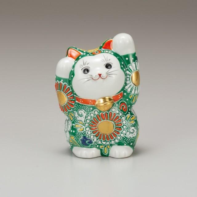 九谷焼 4号招猫 緑盛(両手上げ)