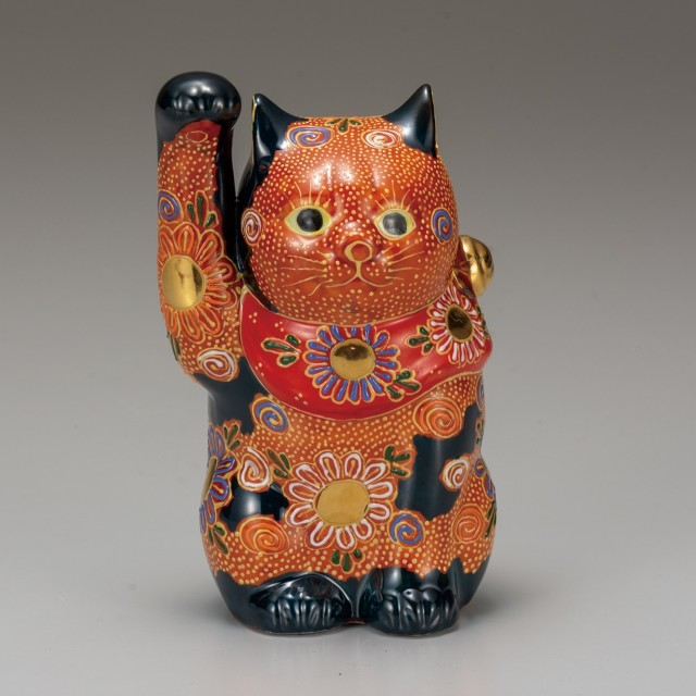 九谷焼 5号招猫 盛(右手上げ)
