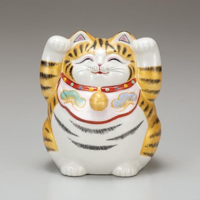 九谷焼 5号招猫 金彩(両手上げ)