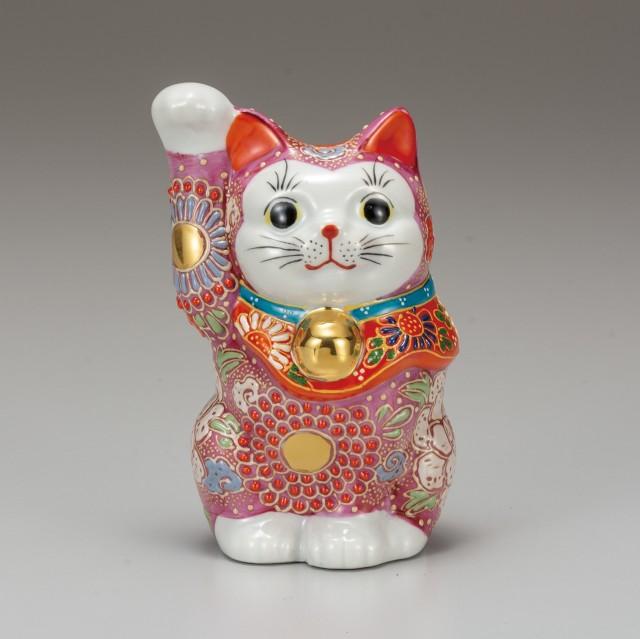 九谷焼 4.8号招猫 ピンク盛(右手上げ)