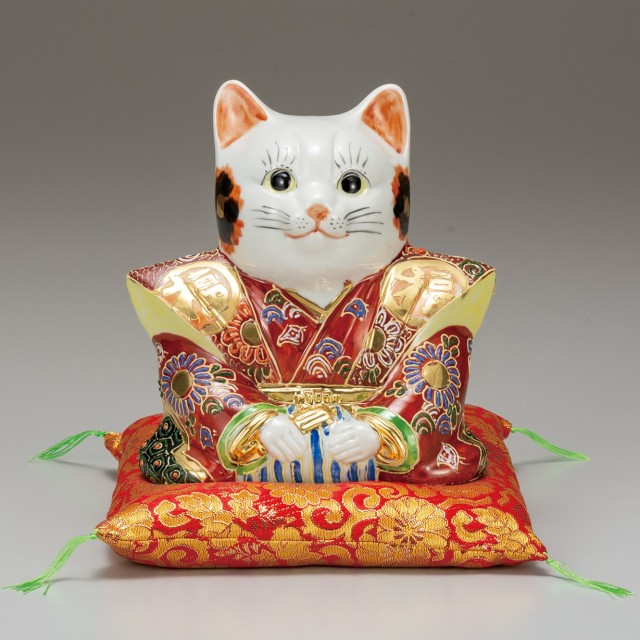 九谷焼 6号福助猫 盛 [ 座布団付 ]