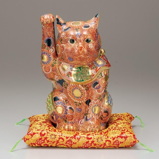 九谷焼 10号招猫 盛(右手上げ) [ 座布団付 ]7-1557