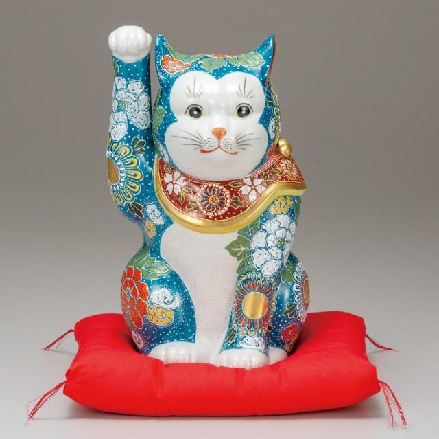 九谷焼 10号招猫 青盛(右手上げ) [ 座布団付 ]