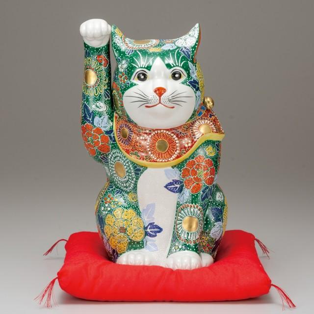 九谷焼 12号招猫 緑盛(右手上げ) [ 座布団付 ]