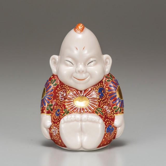 九谷焼  4号ビリケン 赤茶盛